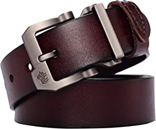 BISON DENIM Men's Leather Belt Genuine Leather Dress Belt Casual Fashion Single Prong Buckle Belts for Jeans
