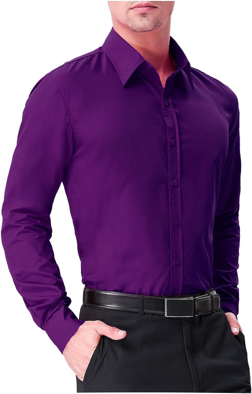 Guytalk Mens Slim Fit long sleev Solid Dress Shirts