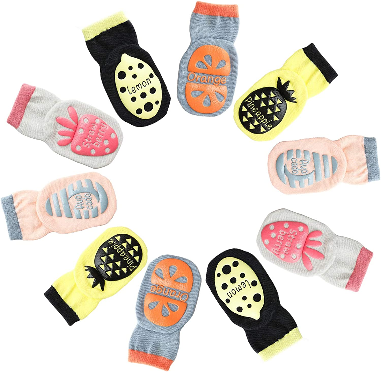 Unisex-Baby Toddler Infant Newborn Anti Skid Crew Socks 5 Pairs