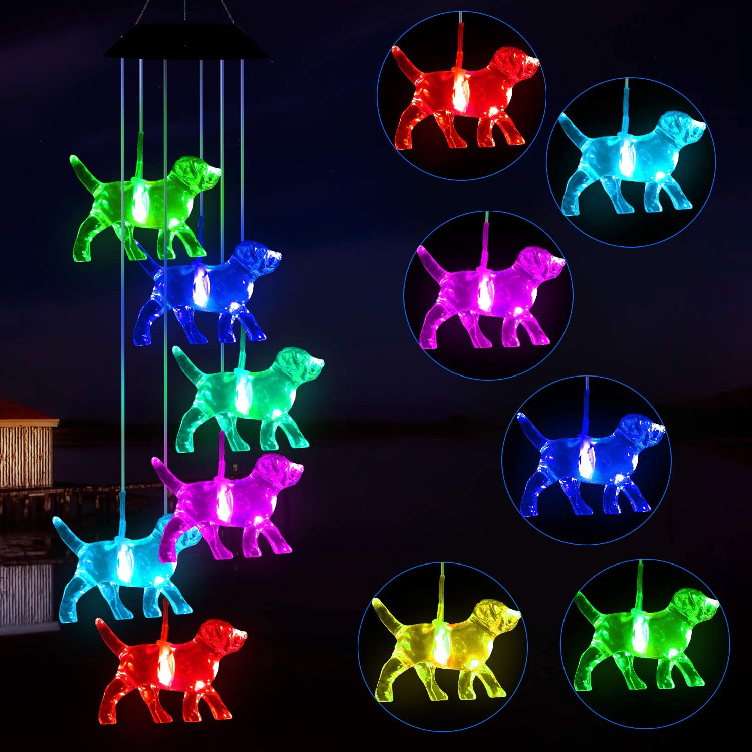 Solawindchime Dogs Wind Reservation Chimes Gifts Changing Color Free Shipping New for Women D