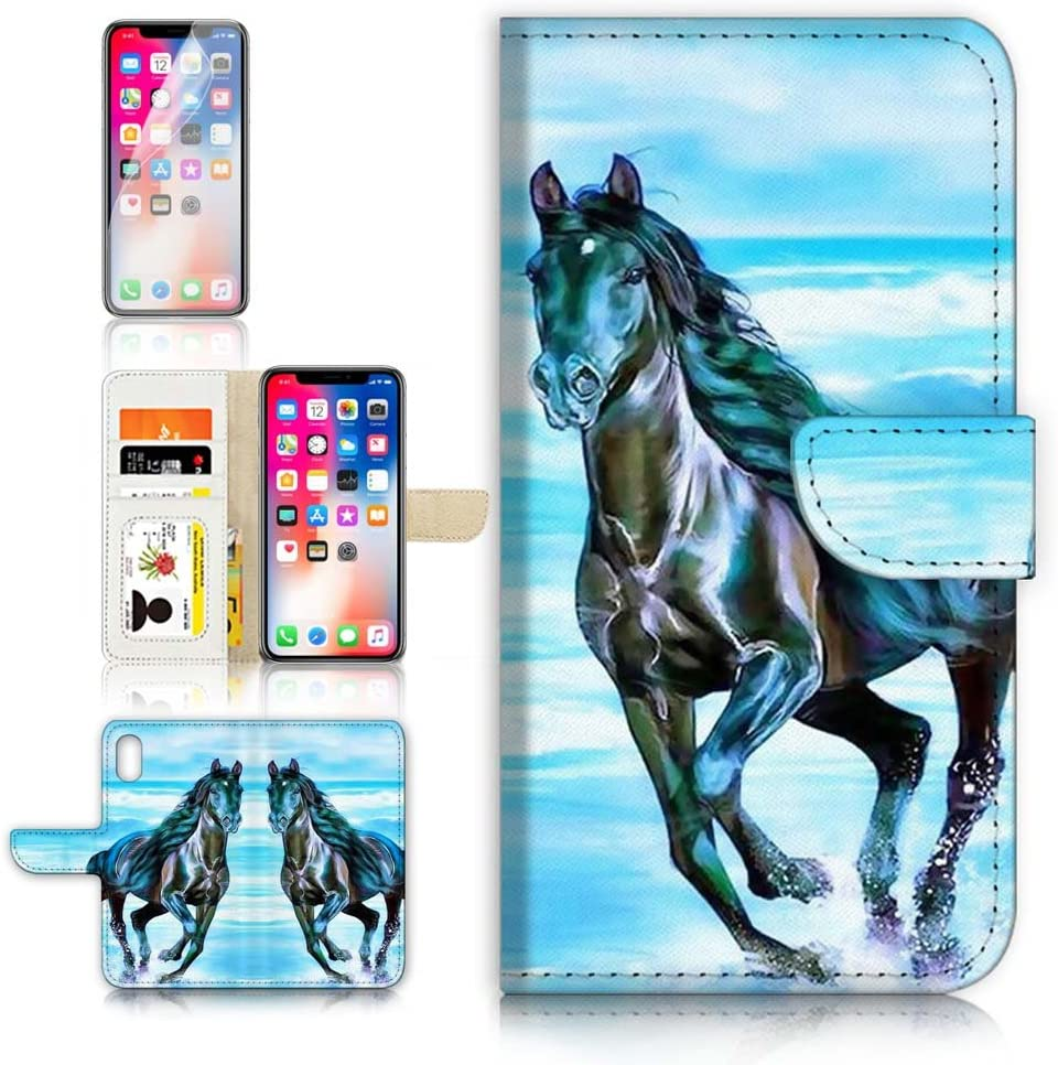 (for iPhone XR) Flip Wallet Case Cover & Screen Protector Bundle - A20254 Horse