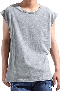 バレッタ ドロップショルダー ノースリーブ ビッグTシャツ 無地 ロング丈 メンズ