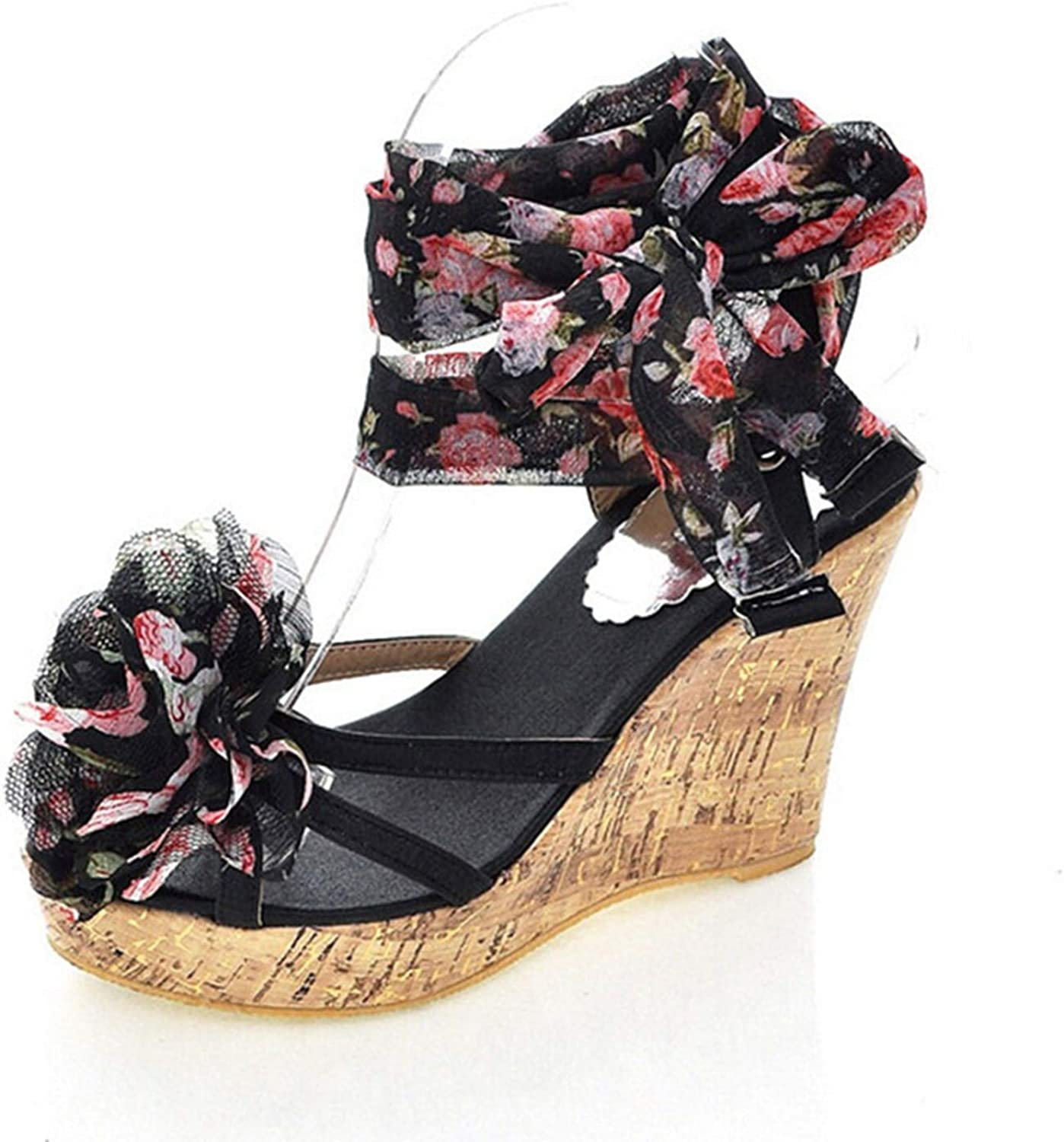 Fairly High Heel Open Toe Print Flower Summer shoes Fashion Sexy for Wedding shoes,Black,6
