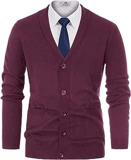 PAUL JONES Men's V-Neck Button Down 2 Pockets Cardigan Sweater Ribbed Edge