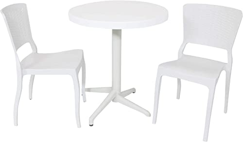 2021 Sunnydaze All-Weather Hewitt Outdoor 3-Piece Patio Furniture sale Dining Set - Includes Round Table with Folding Top and 2 Chairs - Commercial Grade Indoor/Outdoor Use - popular White online