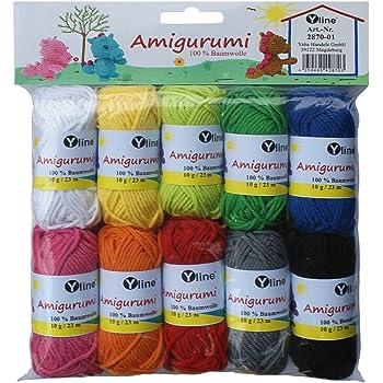 Surtido Amigurumi lana 10 knäuel A. 10 g, 100% algodón, hilo, punto lana, ganchillo, 2870 – 01: Amazon.es: Hogar