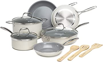 Goodful 12 Piece Cookware Set with Titanium-Reinforced Premium Non-Stick Coating, Dishwasher Safe Pots and Pans, Tempered ...