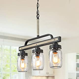 Log Barn Rustic Mason Jar Island Chandelier, 3 Lights Farmhouse Kitchen Pendant Light Fixture in Distressed Faux Wood and Dark Grey Metal Finish, 22