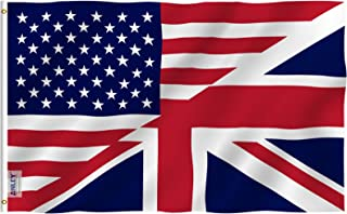 Anley Fly Breeze 3x5 Foot America Britain Friendship Flag - Vivid Color and UV Fade Resistant - Canvas Header and Double Stitched - Friendship Forever US UK Flag with Brass Grommets 3 X 5 Ft