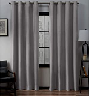 Exclusive Home Curtains Loha Linen Grommet Top Curtain Panel Pair, 54x108, Dove Grey, 2 Count