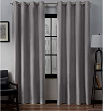 Exclusive Home Curtains Loha Linen Grommet Top Curtain Panel Pair, 52x84, Dove Grey