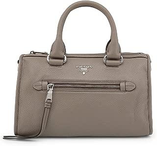Prada Women's Argilla Gray Bauletto Vitello Phenix Leather Tote Satchel Handbag 1BB022