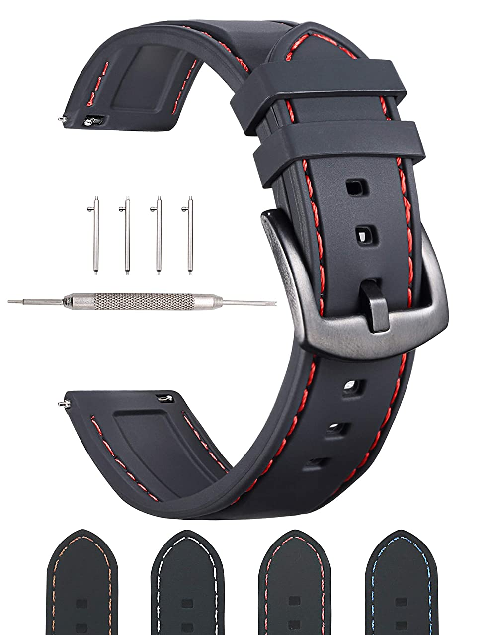 22mm Silicone Watch Bands - Quick Release Strap - Black Clasp - Waterproof - Choose Color - Width 22mm - Red Stitching - Soft Rubber Straps (Black - Red Stitching, 22MM)