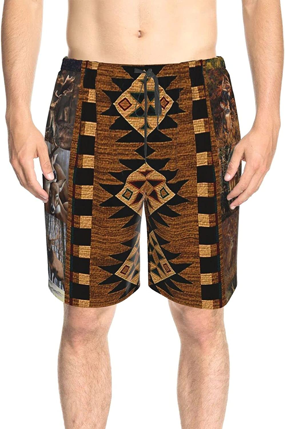 JINJUELS Men's Swim Shorts Wildlife Deer Forest Beach Board Shorts Quick Dry Cool Surf Beach Shorts with Pockets