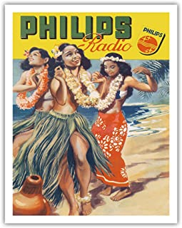 Pacifica Island Art Hawaiian Hula Dancers - Philips Radio - Vintage Advertising Poster c.1950s - Hawaiian Fine Art Print - 11in x 14in