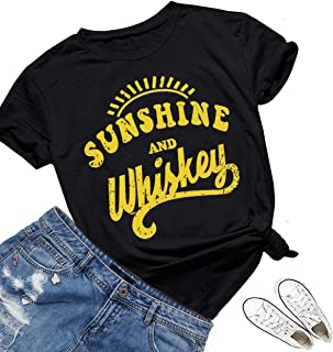 Sunshine and Whiskey T Shirts Women Short Sleeve Beach Kindness Cute Graphic Funny Letters Print Summer Tops Tees