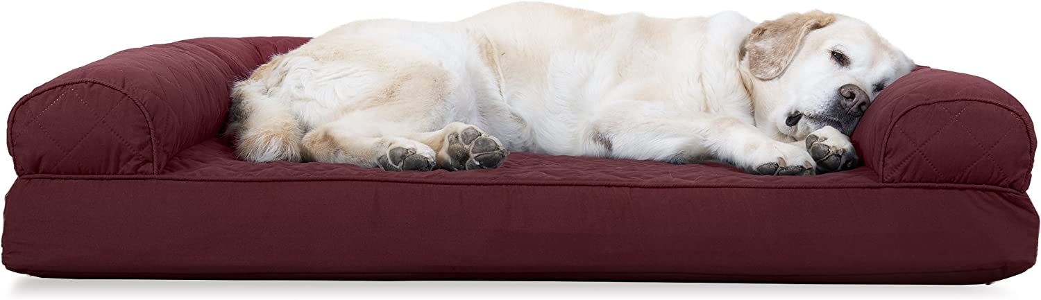 FurHaven Gel Foam Quilted Dog Couch Sofa Bed for Dogs and Cats, Wine Red, Jumbo