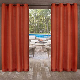 Exclusive Home Curtains Delano Heavyweight Textured Indoor/Outdoor Grommet Top Curtain Panel Pair, 54x108, Mecca Orange, 2 Piece