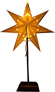 Best Season Stand Stella in metallo/carta,20LED a luce bianca calda, Plastica, Bianco, 14x 34x 55cm