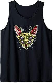 Funny Alien Cat Meme Illustration Gift for Alien Cat Lovers Tank Top