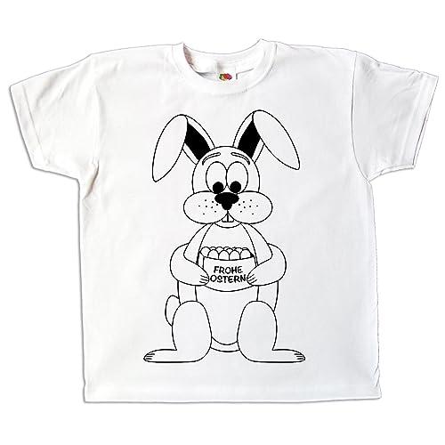 Pixkids Ostern Kinder T-Shirt Osterhase zum bemalen und ausmalen mit Vordruck zum Kindergeburtstag oder als Ostergeschenk für Jungen und Mädchen