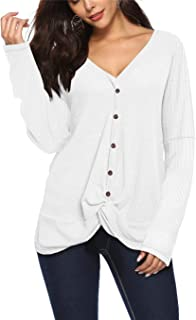 ONLYSHE Womens Waffle Knit Tunic Tops Casual Loose Twist Knot Tops Long Sleeve Sexy V Neck Henley Shirts