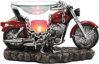 Ebros Red Vintage Motorcycle Classic Chopper Bike Electric Oil Burner Or Tart Warmer Decor Statue 9.5