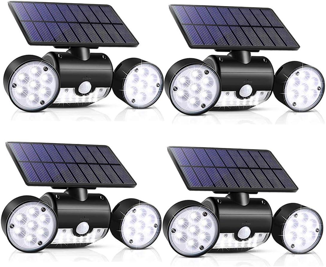 Outdoor Solar Lights, 30 LED Solar Security Lights with Motion Sensor Dual Head Spotlights IP65 Waterproof 360° Adjustable LED Solar Motion Lights for Front Door Garage Patio Deck (Pack 4)