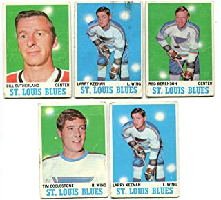 Topps 1970/71 St. Louis Blues Lot of 5 Cards Red Berenson, Larry Keenan, Bill Sutherland, Tim Ecclestone