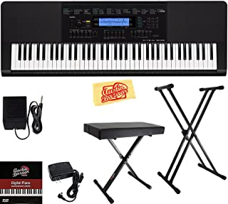 $279 Get Casio WK-245 Workstation Keyboard Bundle with Adjustable Stand, Bench, Sustain Pedal, Power Supply, Austin Bazaar Instructional DVD, and Polishing Cloth