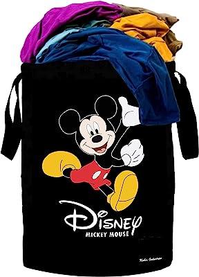 Kuber Industries Disney Print Waterproof Canvas Laundry Bag, Toy Storage, Laundry Basket Organizer 45 L (Black) - CTKTC045413
