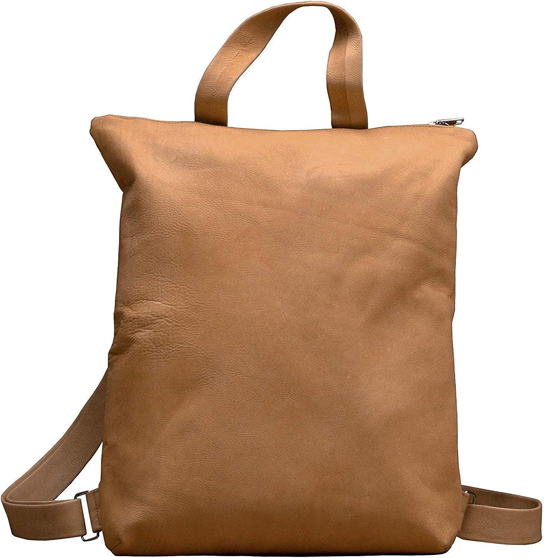 MONT5 Women's Genuine Leather Large Backpack Shoulder Bag Purse Zippered Tote