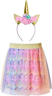 QPANCY Tulle Rainbow Unicorn Tutu Skirts Birthday Party Outfits with Headband