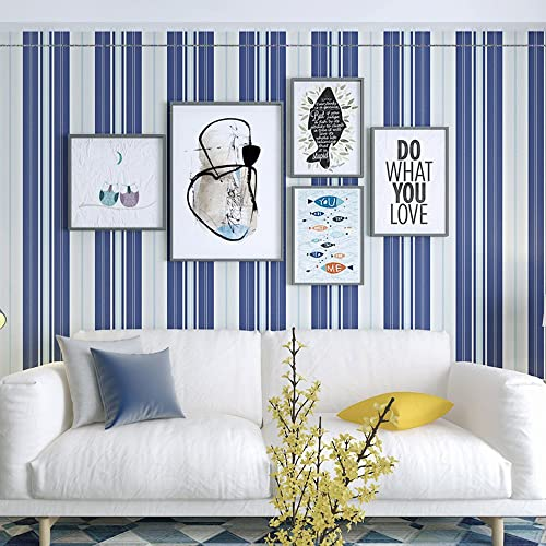 Okydoky Blue And White Vertical Stripes Wallpaper,Removable,Living Room  Bedroom Kitchen Background No