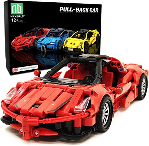 popular Nickbuild lowest Pull-Back Sports sale Car LaFer MOC Building Blocks Toy, Collectible Play Model Set and Building Kit for Kids and Teens, 1:18 Scale Pull Back Sports Car Model (388 PCS) online sale