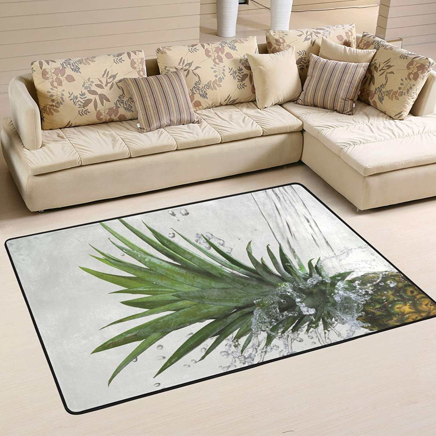 Area Rugs Doormats Pineapple Water Soft Carpet Mat 6'x4' (72x48 Inches) for Living Dining Dorm Room Bedroom Home Decorative