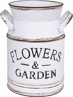 APSOONSELL White Metal Galvanized Bucket Rustic Flower Pot Farmhouse Decor Metal Vase Can Jug Vintage Pot Planter, Small