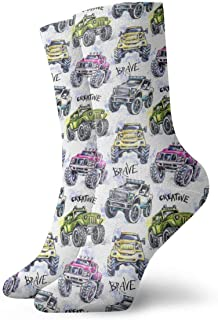 Cartoon Monster Trucks Calcetines coloridos de tobillo Casual Divertido para botas deportivas Senderismo Running Etc