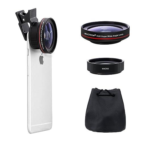 MACTREM Kit d'objectifs pour Smartphone [Version améliorée], 0.5X Super Grand Angle + 15X Objectif Macro, Clip-on 2 en 1 HD Téléphone Camera Lens Kit pour iPhone 8, 7, 6s / 6 Plus Samsung Galaxy
