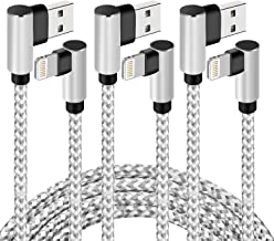 iPhone Cable 10FT, Right Angle Lightning Cable Durable and Fast Charging Cable [Double Braided Nylon] for iPhone Xs/XS Max/XR/X / 8/8 Plus / 7/7 Plus / 6/6 Plus / 5s / iPad and More (Silver, 10FT)