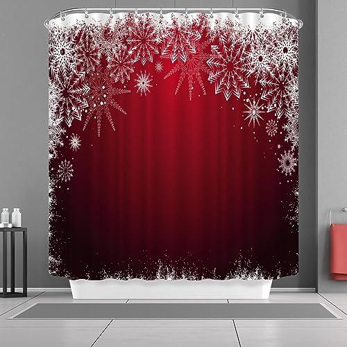 VANCAR Waterproof Bathroom Decor Custom Xmas Merry Christmas Shower Curtain Sets With Hooks 66X72