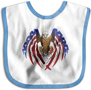 UBCATDESA USA Flag Baby Bibs, Unisex Baby Soft Cotton Easily Clean Teething Bibs(Blue&Pink)