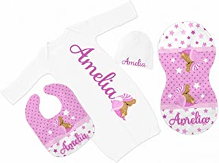 New Baby Girl's White with Pink Stars Sleeping Bear Personalized Infant Gown with Black Coming Home Outfit