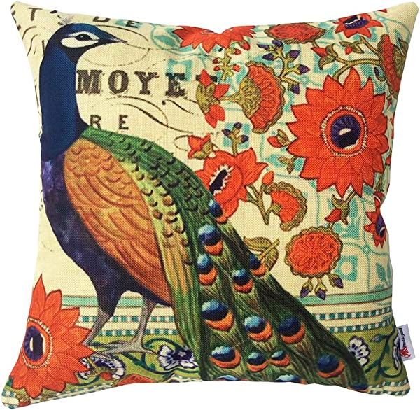 Monkeysell Peacock Pattern Vintage Cotton Linen Square Throw Pillow Case Decorative Cushion Cover Pillowcase Cushion Case For Sofa Bed Chair18 X 18 Inch