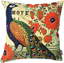 Monkeysell Peacock Pattern Vintage Cotton Linen Square Throw Pillow Case Decorative Cushion Cover Pillowcase Cushion Case for Sofa,Bed,Chair18 X 18 Inch