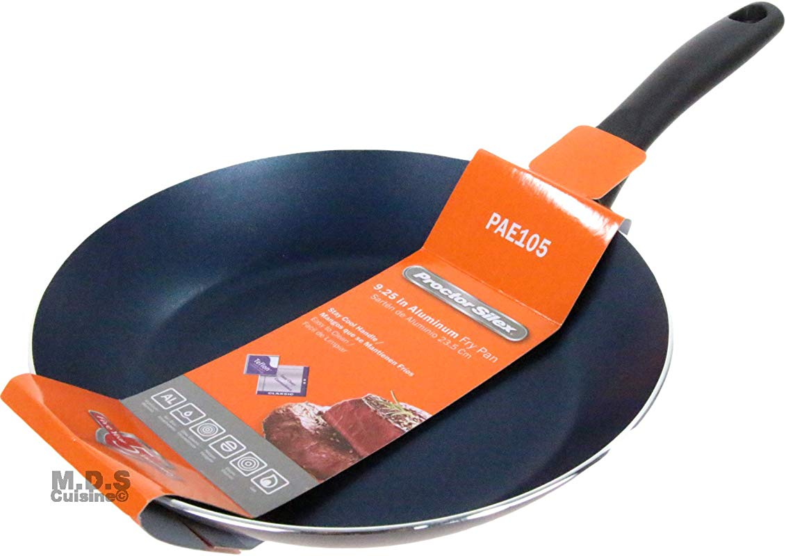 Fry Pan Non Stick 9 Inch Teflon Metallic Blue Aluminum Stay Cool Handle Skillet