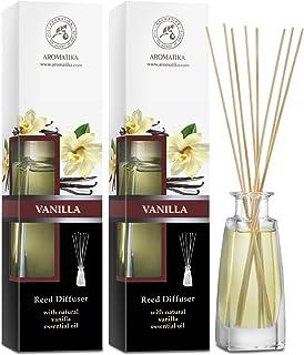 Diffuseur Arôme Vanille - 2x100ml - Diffuseur Reed Sticks Huile Essentielle de Vanille Set - Diffuseur de Parfum - Bâtonne...
