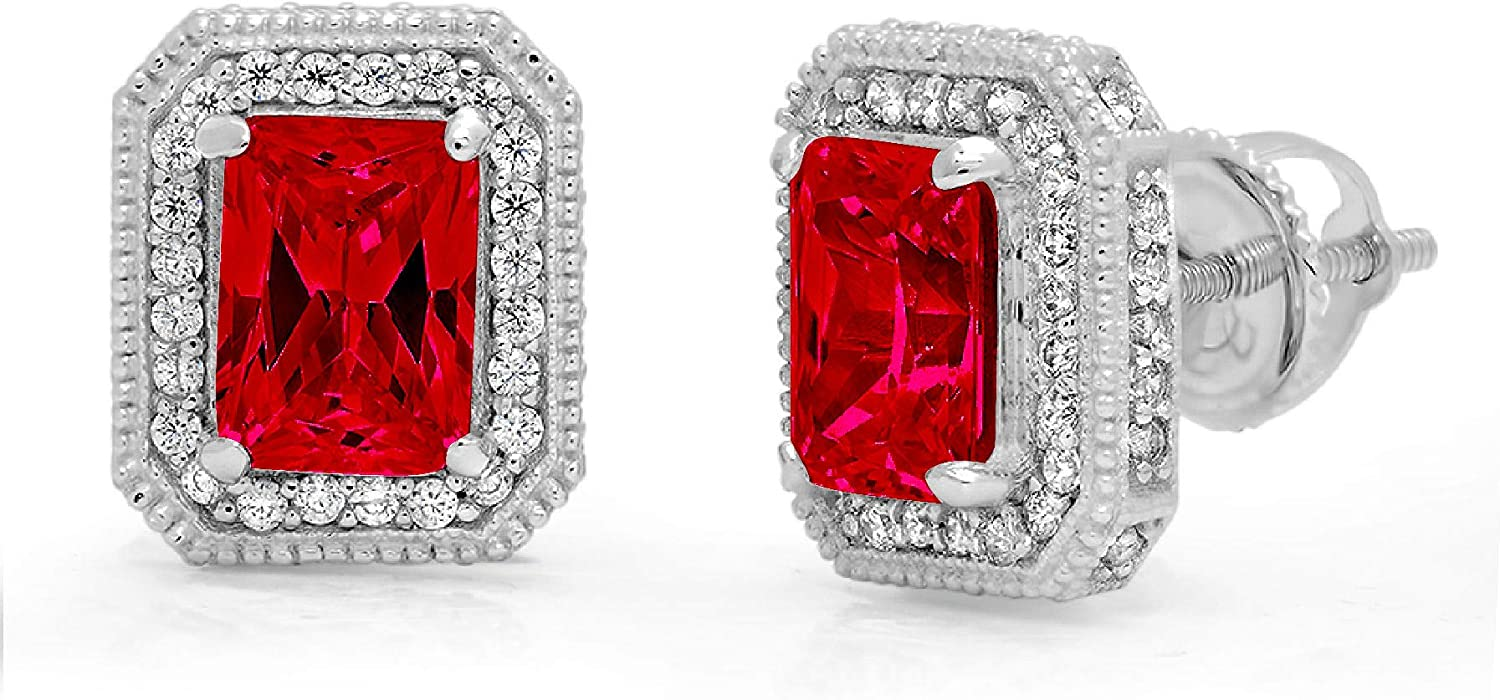 3.88ct Brilliant Emerald Round Cut Halo Solitaire Flawless Genuine Pink Tourmaline Gemstone Unisex Pair of Solitaire Stud Screw Back Designer Earrings Solid14k White Gold