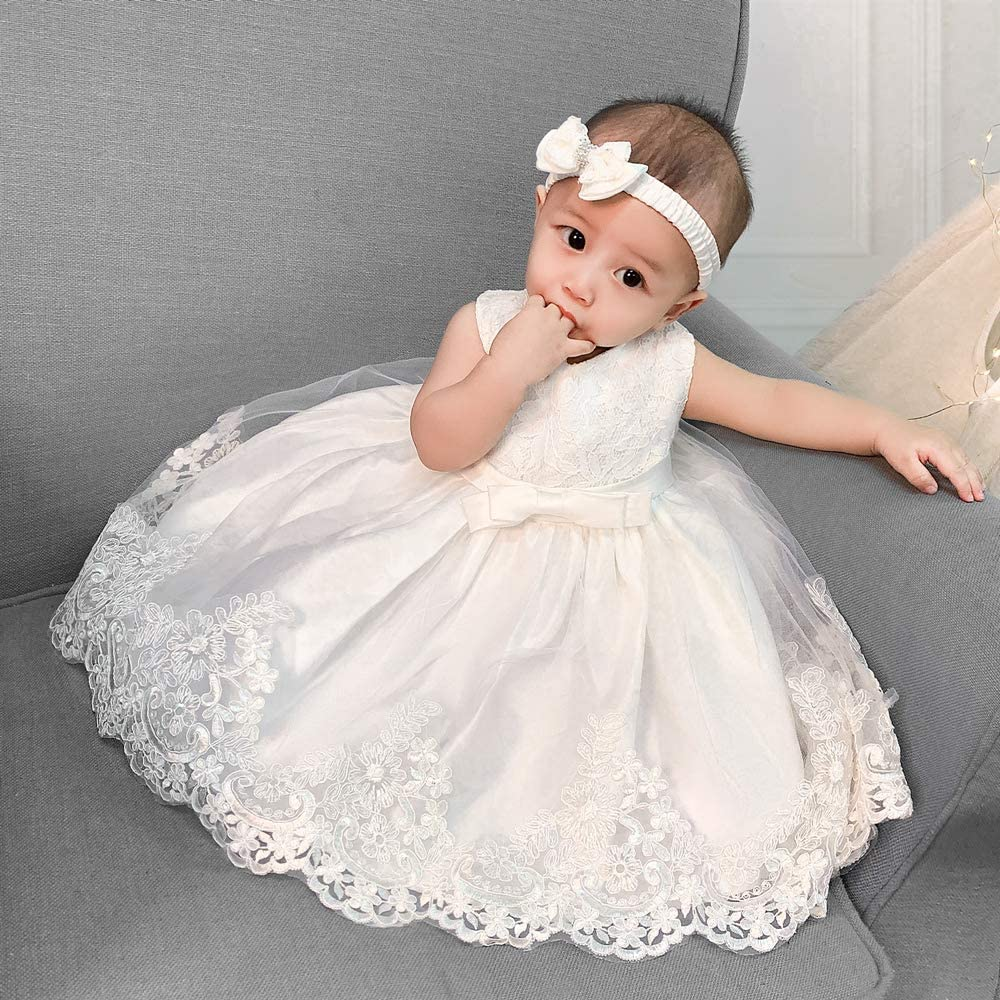 2-6T Little Girl Flower Girls Dress Party Pageant Wedding Lace Dresses with Headwear