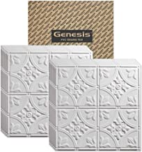 GENESIS - Antique White 2x2 Ceiling Tiles 3 mm Thick (Carton of 12) – These 2'x2' Drop Ceiling Tiles are Water Proof and Won't Break - Fast and Easy Installation (2' x 2' Tile)